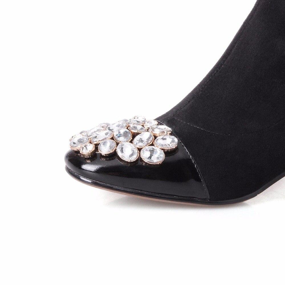 Tacones Moda becerro Invierno Zapatos Cuero Cristal De Stretch Caliente Botas Mujeres Cuadrada Mantener Para Gruesos Negro La L93 Superestrella De Punta Vaca 7qOnqIT8