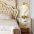 Cobre Estilo Americano Retro Quarto Cama Lâmpada de Mesa 110 V-220 V Lâmpadas Interruptor de Botão Branca Sombra De Vidro Removível
