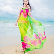 7f4b25056c0a 2018 Women s Long Striped Rainbow Print Chiffon Scarves Sarongs Hijab Beach  Swimsuit Cover Up Bikini Scarf Hot