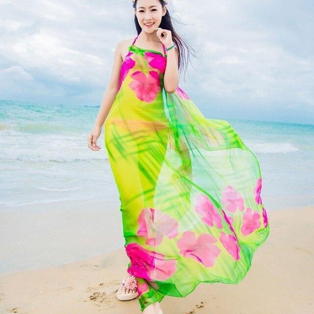 2018 Women s Long Striped Rainbow Print Chiffon Scarves Sarongs Hijab Beach  Swimsuit Cover Up Bikini Scarf 918870877