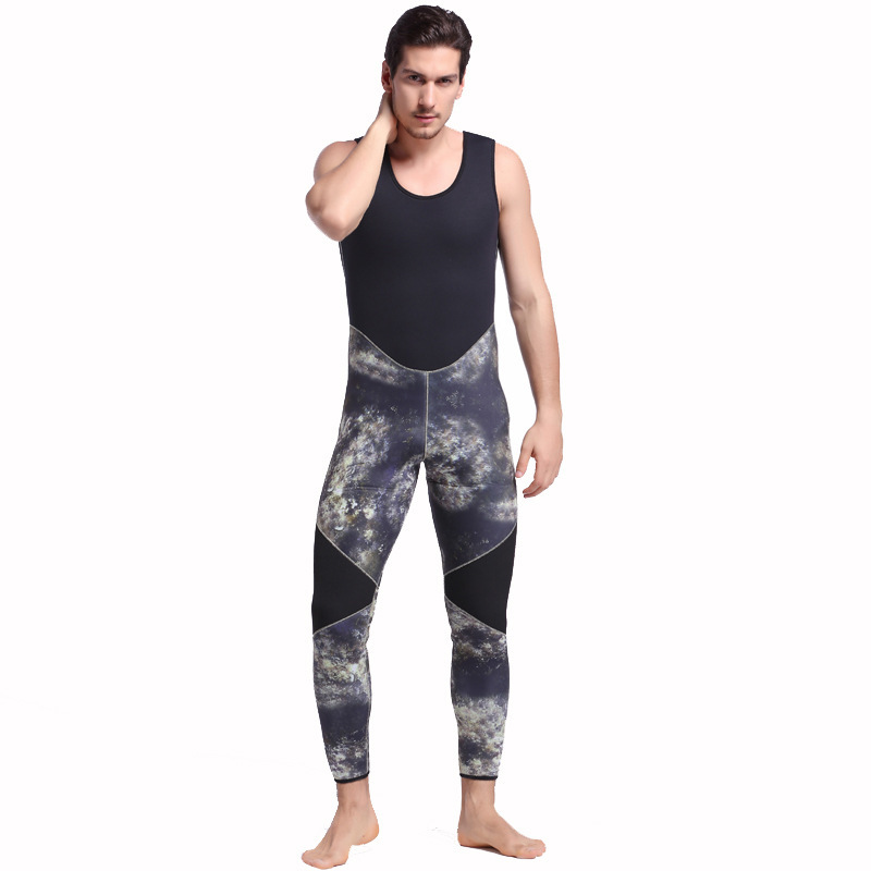 5mm Neopreen Twee Stuks Volledige Pak Mannen Plus Size Duiken Wetsuit Warm Houden Blind Stiksels Jumpsuit Surfen Pak Camouflage groene h2 - 4