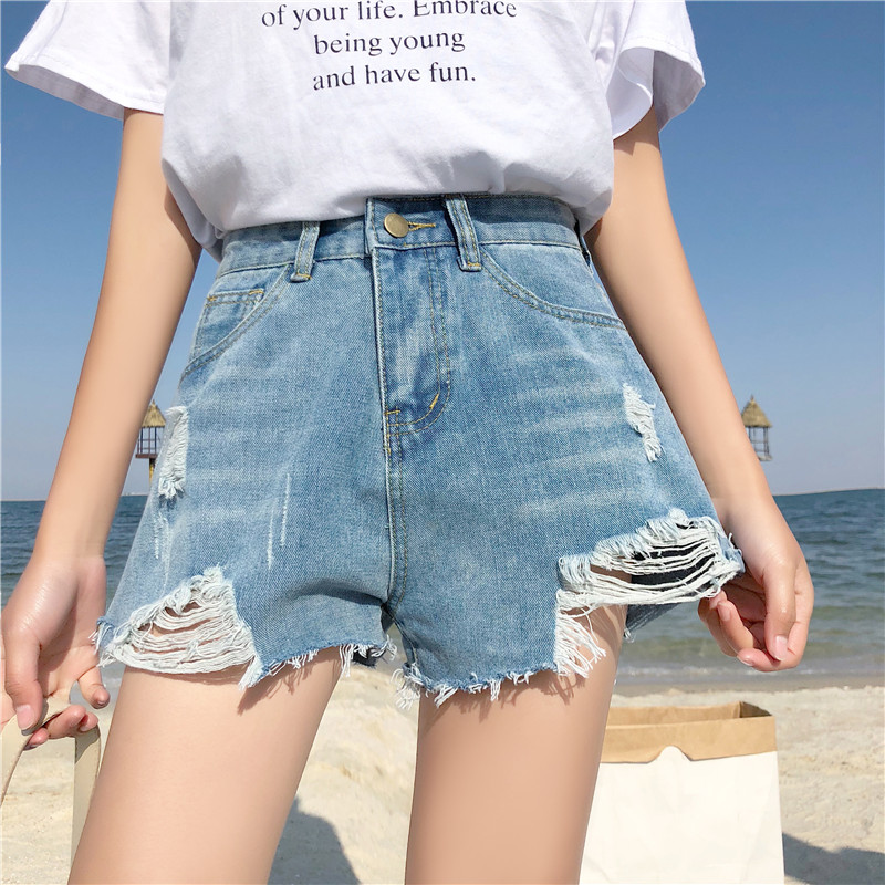 Jeans Women Denim Shorts Plus-Size Hot-Pants Ripped High-Waist-Hole Sexy Casual Summer