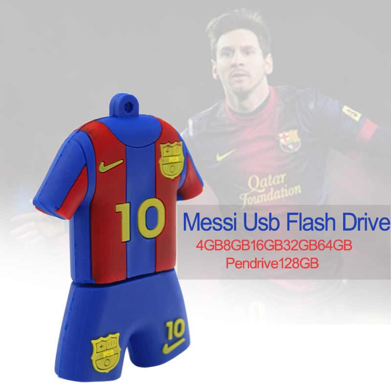 محرك فلاش usb ميسي قميص لكرة القدم نموذج فلاش ميموري 128GB 64GB 32GB16GB cle فلاشة مزودة بفتحة يو إس بي بطاقة