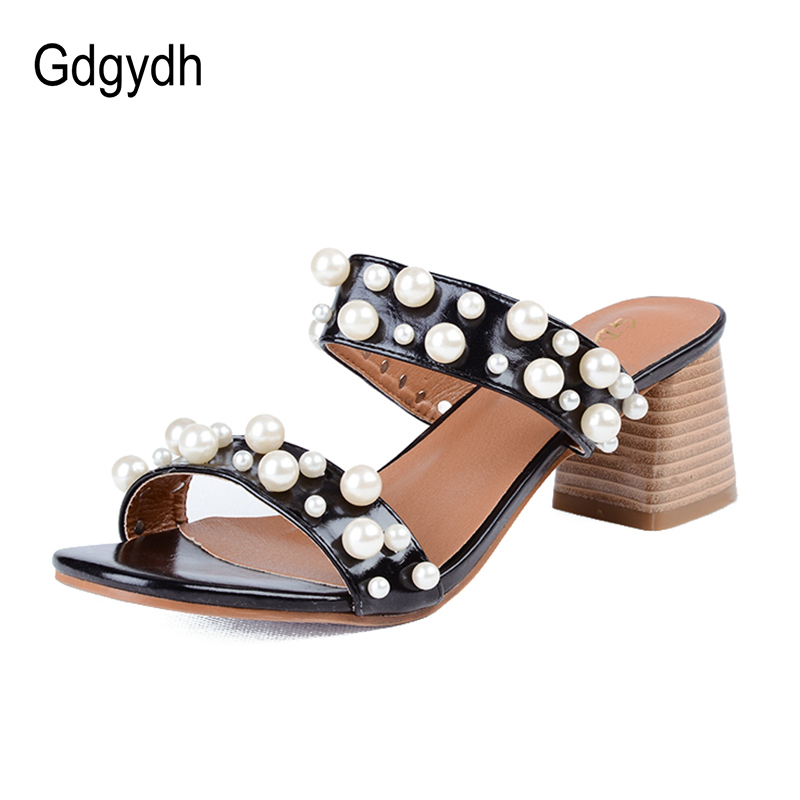 Gdgydh Fashion Thick High Heels Sandals 2018 Summer New Women Shoes Open  Toe Patent Leather Pearl Platform Sandals Size 34-40 5dea6b767acb