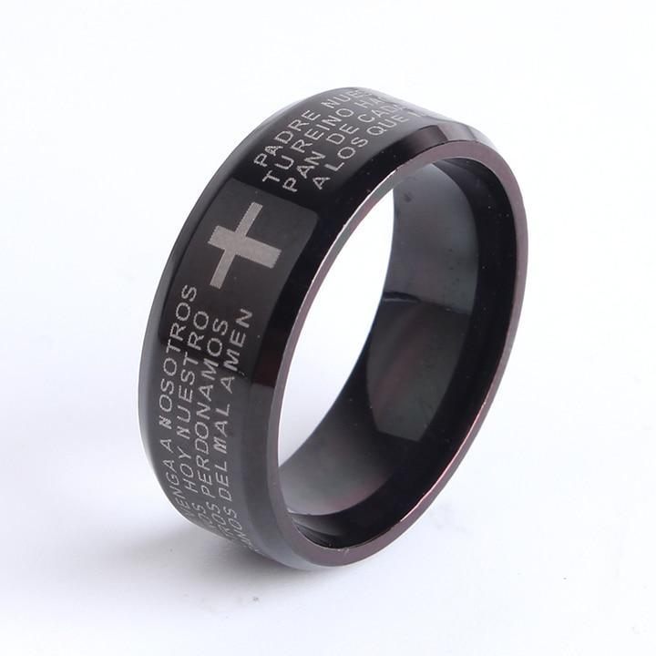 8mm black bible cross 316l Stainless Steel finger rings for men wholesale jewelry