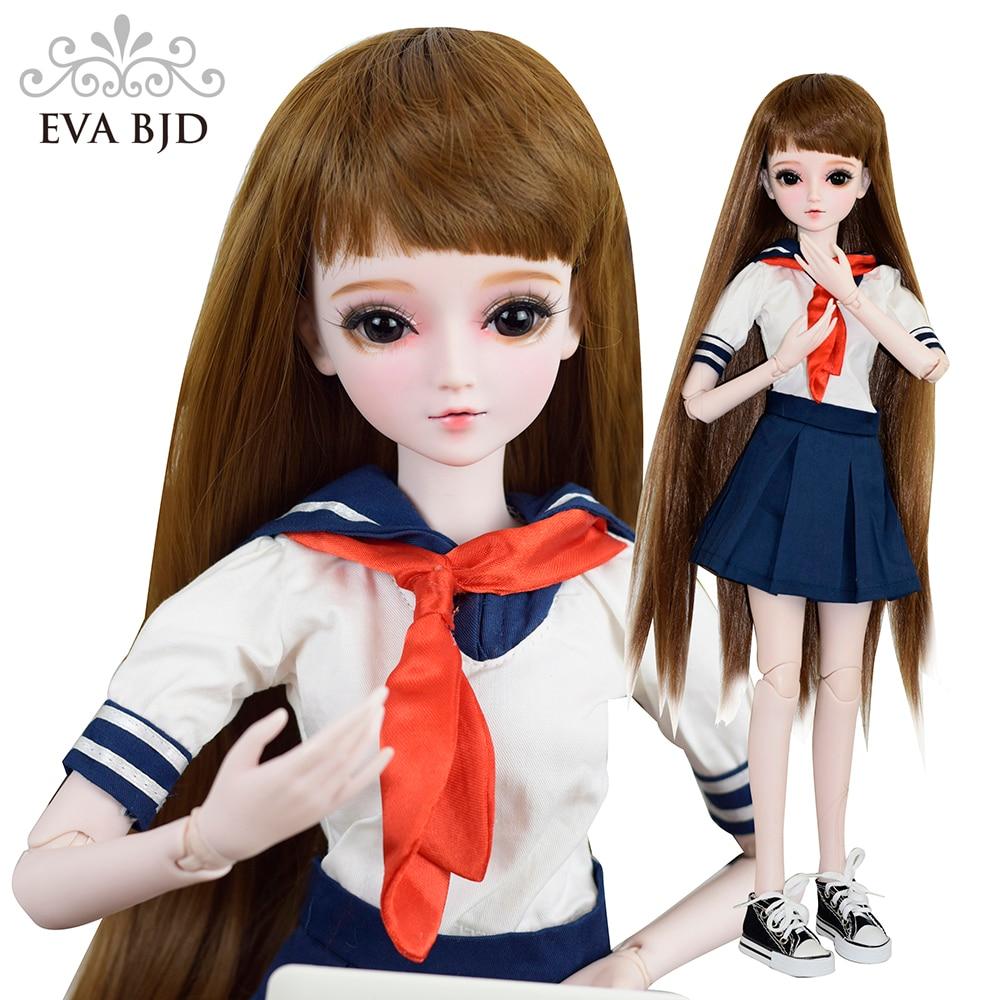 22 Full Set EVA BJD + Handmade Makeup + Sailor School Girl 1/3 SD Doll 22 jointed BJD Doll SD Doll DIY Cake Model + Toy Gift кукла bjd dc doll chateau 6 bjd sd doll zora soom volks