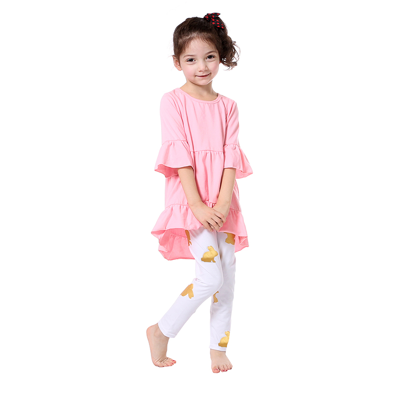 2017 Easter Boutique Kids Clothing Valentineu0026#39;s Girls Outfits Half Sleeve Pink Girls Dress Gold ...
