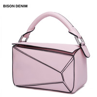 BISON DENIM Genuine Leather Women's Handbag Luxury Shoulder Bags for women 2018 Geometric female crossbody bags fashion N1407