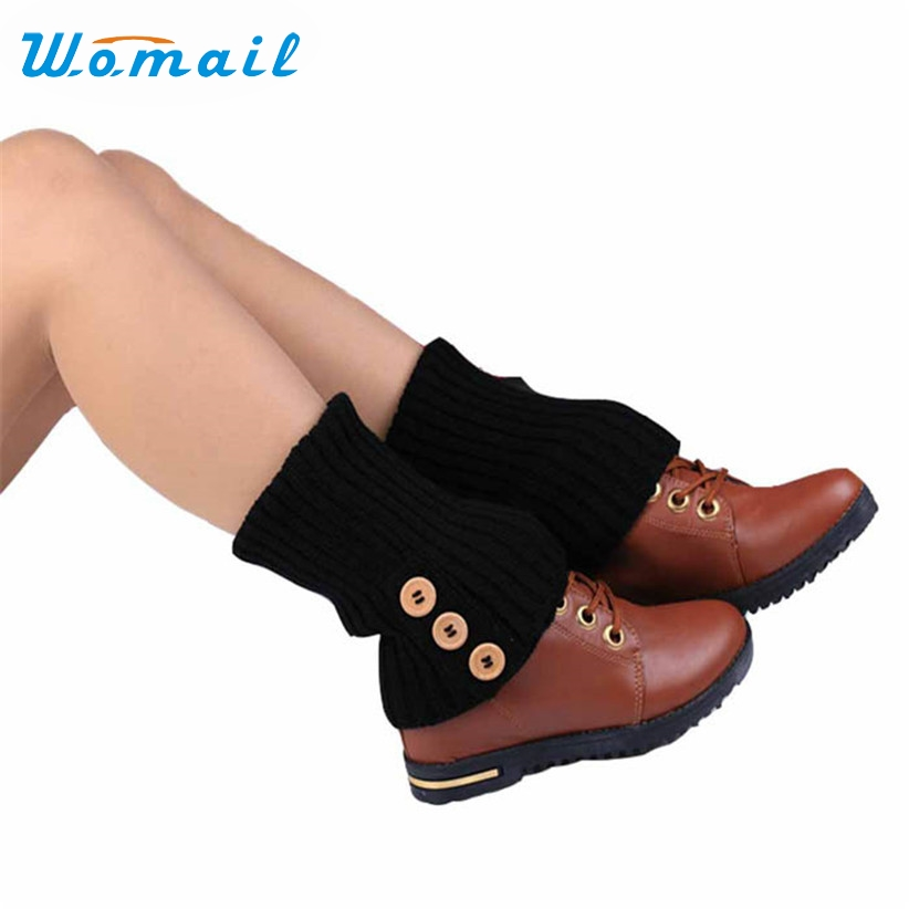 Womail Newly Design Woman Crochet Knitted Button Toppers Leg Warmers Boot Cuffs Aug10 Drop Shipping