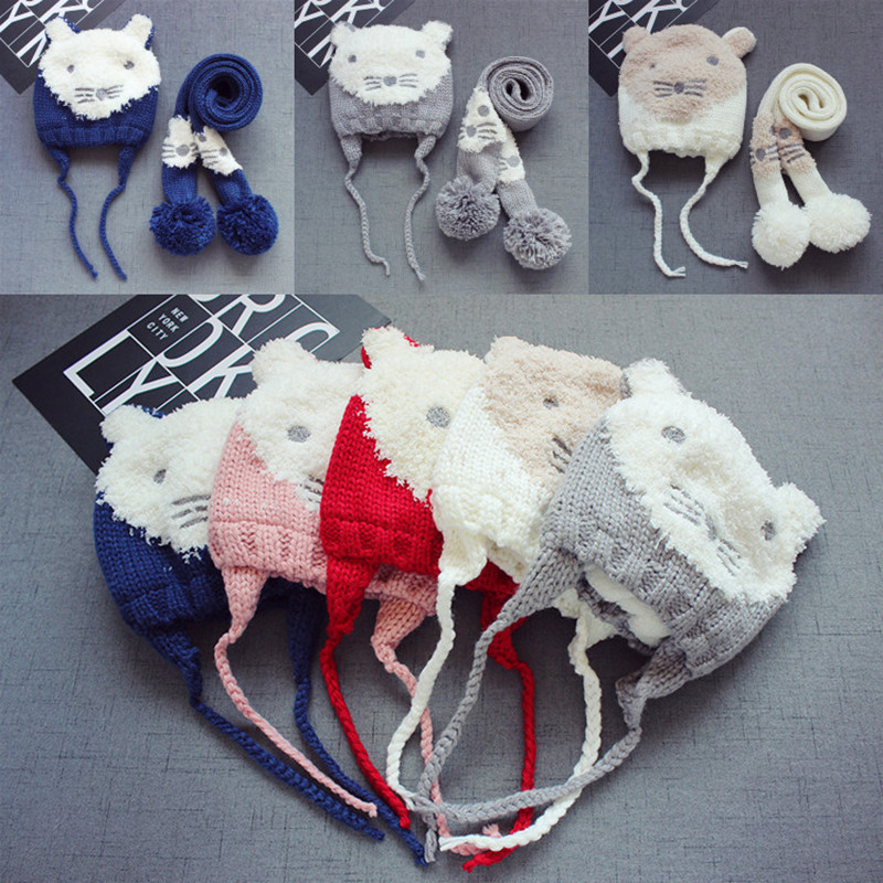 Baby Winter Hat Set with Scarf Neck Warmer for Kids Boys Girls Hot Style ChildrenLamb Bear Hat Thick Christmas Beanies Cap