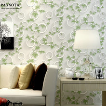 цена на PAYSOTA Modern 3 D Fashion Wallpaper Living Room Bedroom TV Setting Wall  Leaves Green Circle Non-woven Wall Paper