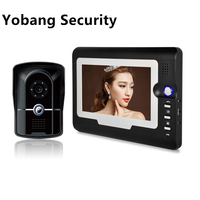 Yobang Security Freeship 7 Inch Video intercom DoorBell Phone System Waterproof IR Camera Wired intercom for private house
