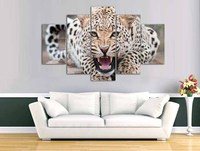 5 Panel Animal Poster HD Printed Oil Painting Leopard Canvas Print Art Home Decorative Wall Art