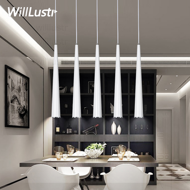 Modern LED cone pendant lamp aluminum suspension lighting hanging lamps black white red sliver light minimalism luxury lights