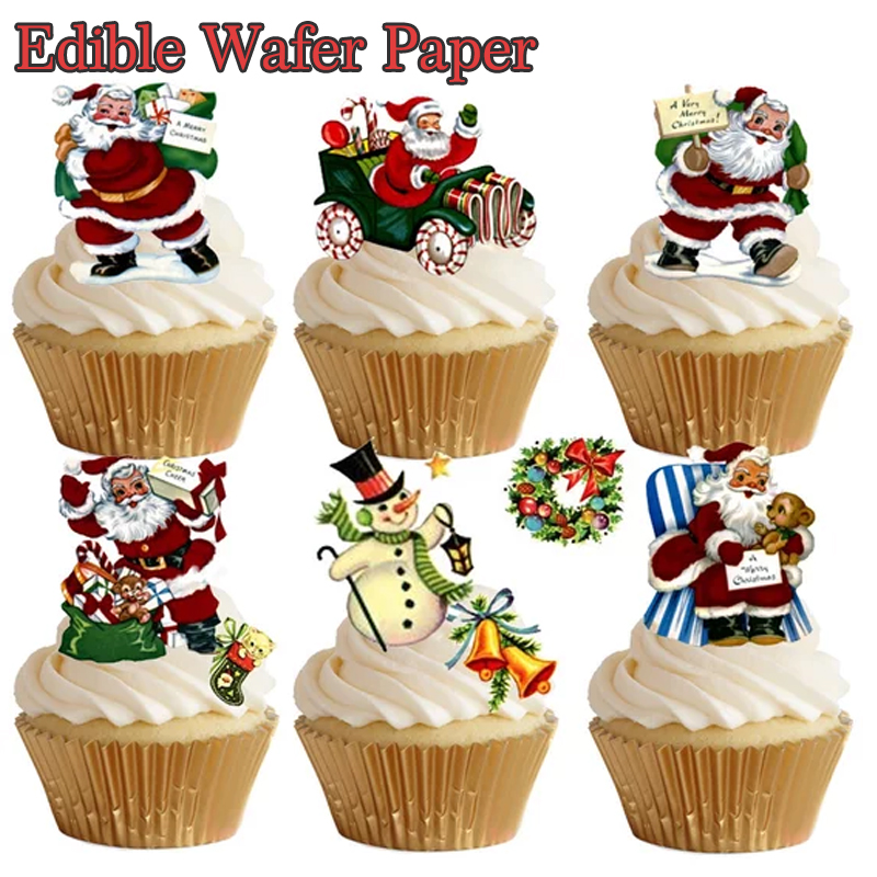 Santa Claus Image Edible Pre Cut Wafer Cupcake Toppers Christmas Cake Idea Decorating Tools Christmas Party Supply Aliexpress