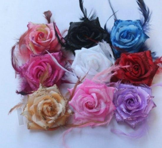 Headwear Hair clip Big rose headdress Party brooch Head Flower girl Women breast pin BD008