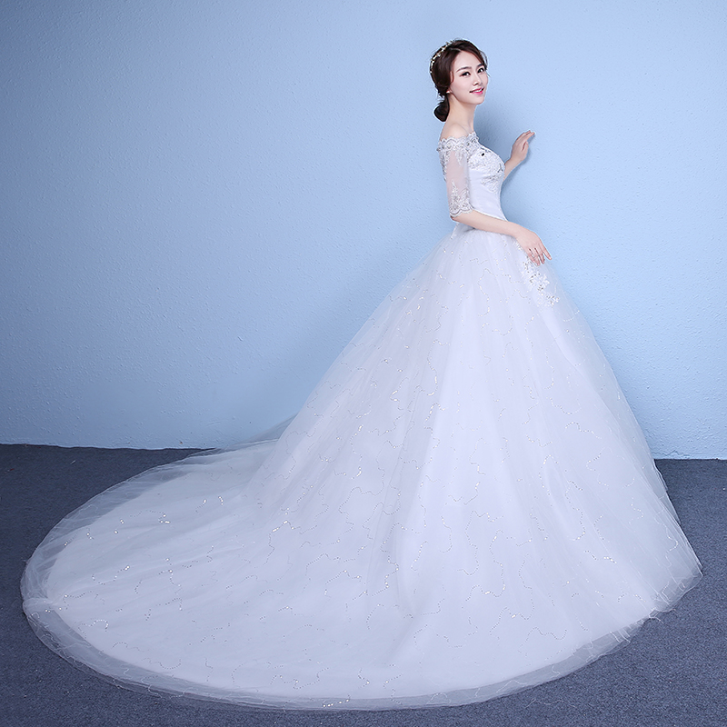 Women's off shoulder lace tail wedding dresses pure white wedding gown
