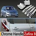 Para Opel Zafira B Chrome Door Handle Guarnição Da Tampa Conjunto de 4 Pcs para Vauxhall Holden Zafira Família de Plástico Acessórios Do Carro Styling