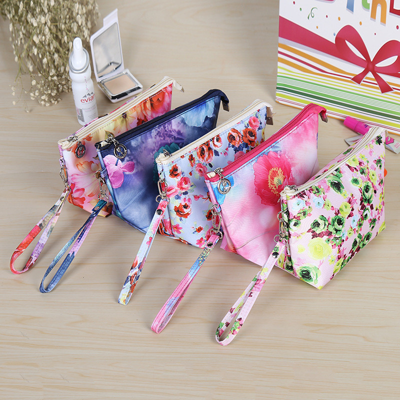 Women's fashion printing Cosmetic bag Female Hand bag Trumpet travel sort out Storage package Portable Wash bag Clutch bag