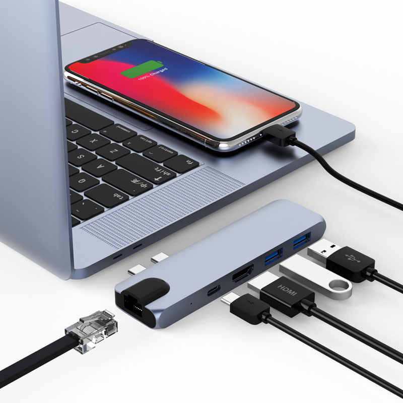 Mosible 3 Adaptador USB C Hub Thunderbolt para HDMI 4 K Rj45 1000 M PD com Hub de 3.0 Portas para macBook Pro \ Ar 2018-Tipo C Dongle