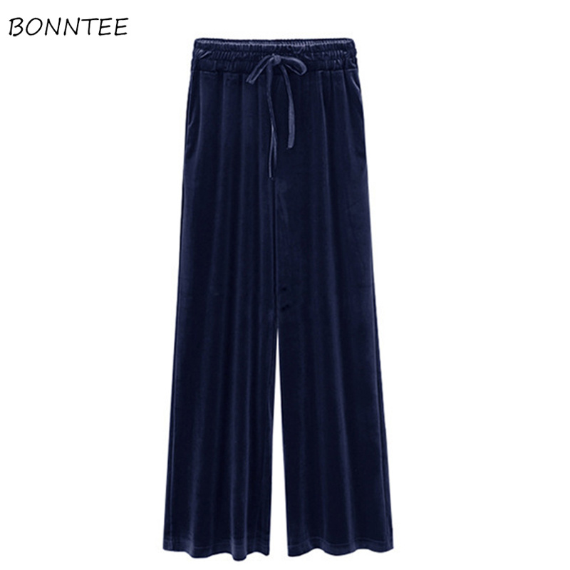 Pants   Women Winter 2019 Large Size High Elasticity Trendy Solid Womens   Wide     Leg     Pant   High Waist Pleated Loose Females Trousers
