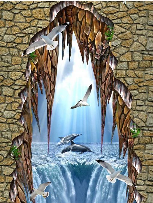 ФОТО custom wall papers home decor living room 3d floor tiles wall mural wallpaper Marine Dolphins Waterproof 3d floor sickers