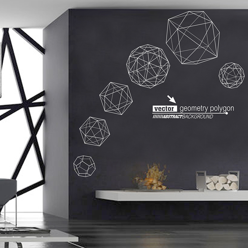 [SHIJUEHEZI] Customized Geometry Polygon Wall Sticker PVC Material Handmade Mural Art for Living Room Home Decoration