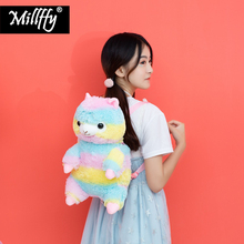 Dropshipping Millffy new arrival rainbow alpaca backpack toy doll bag plush toy girls kids birthday gifts