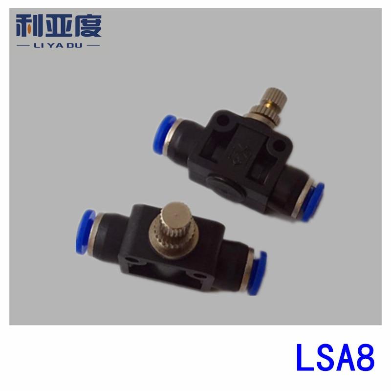 50pcs lot LSA8 Black White Pneumatic components trachea fast connection peg flow limiting valve LSA pipeline
