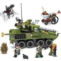 Sembo Toys Black Gold Military Building Blocks Set DIY Tank Field Armed Forces Army Soldier Figures Bricks Compatible With Legoe