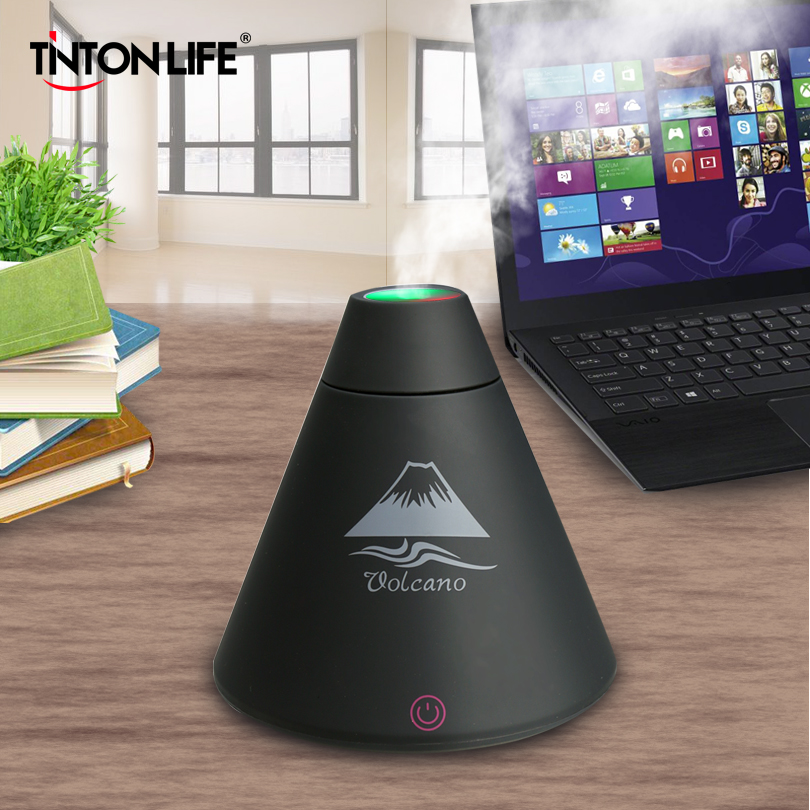 TINTONLIFE Creative Volcano Style USB Ultrasonic Humidifier With Colorful Led Light Essential Oil Aroma Diffuser Auto Off Touch volcano