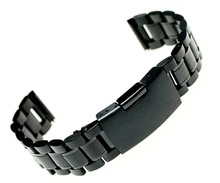 Generic 18/20/22/24mm Straight End Black Stainless Steel Bracelet Watch Band Solid Links PVD