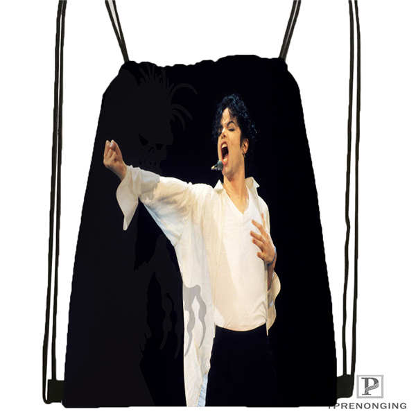 Custom Michael Jackson@04  Drawstring Backpack Bag Cute Daypack Kids Satchel (Black Back) 31x40cm#20180611-02-64