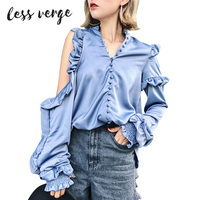 LESSVERGE Puff Sleeve Women Blue Blouse2017 High Street Fashion Shirts Autumn Winter Cool V Neck Female