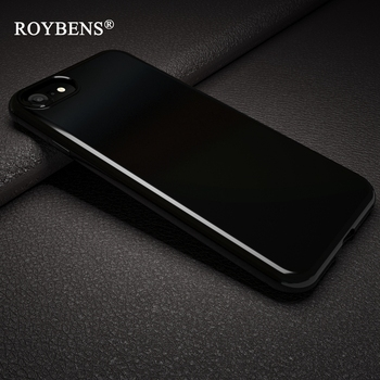 Roybens Originality Jet Black Soft Case For iPhone 7 Plus iPhone 7 Silicone Bright Black Glossy TPU Back Protection Phone Cases iPhone