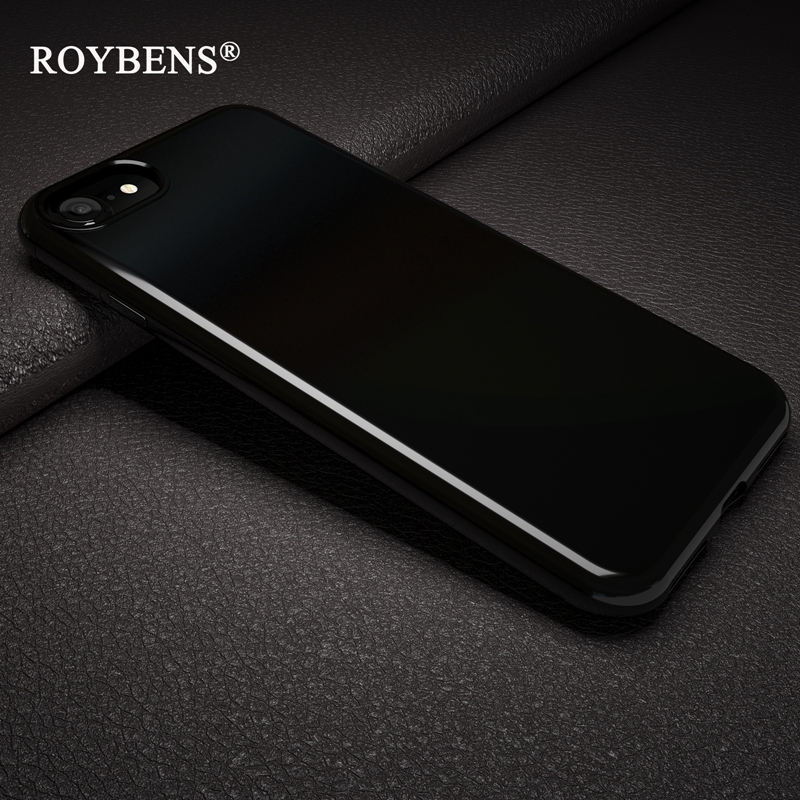 free shipping c589e 79039 Roybens Originality Jet Black Soft Case For iPhone 7 Plus iPhone 8 Silicone  Bright Black Glossy TPU Back Protection Phone Cases-in Fitted Cases from ...