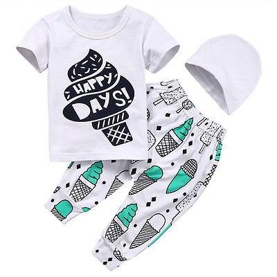 3PCS Newborn Toddler Kids Baby Boys Girls Set Outfits Clothes ice cream Short Sleeve T-shirt +Pants HatNew