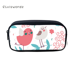 ELVISWORDS Cartoon Printed Pencil Bag Box Kawaii Women Makeup Cases Cosmetic Bags Children Stationery School Supplies