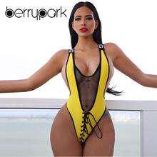 BerryPark Mesh Swimsuit 2019 Summer Women Sexy One Piece Swimwear Lace Up Bandage Bodysuit Swim Suit Beach Wear Drop Shipping