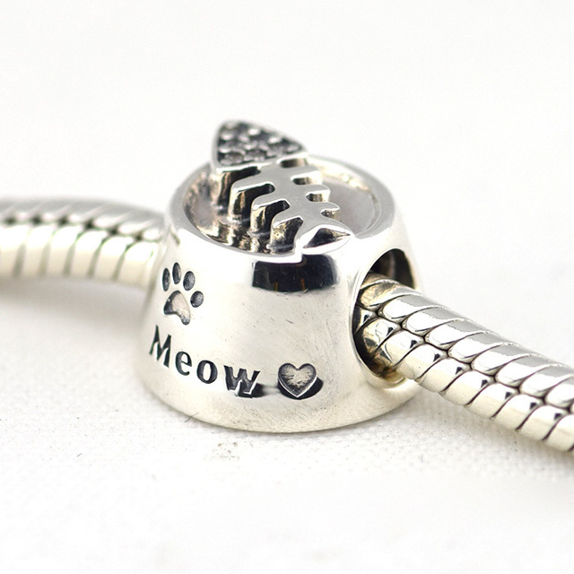 Fits European Pandora Bracelet Cat Bowl Silver Charms With Clear