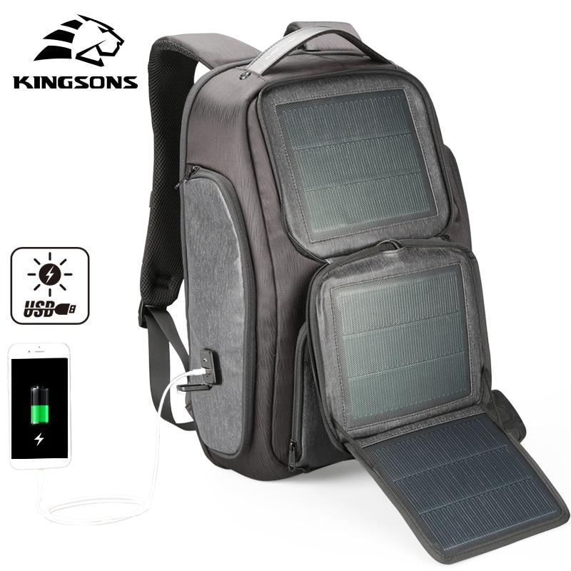 Kingsons New Arrive Solar Fast charging Backpack For Men USB 15 6 Inch Laptop Bags Knapsack
