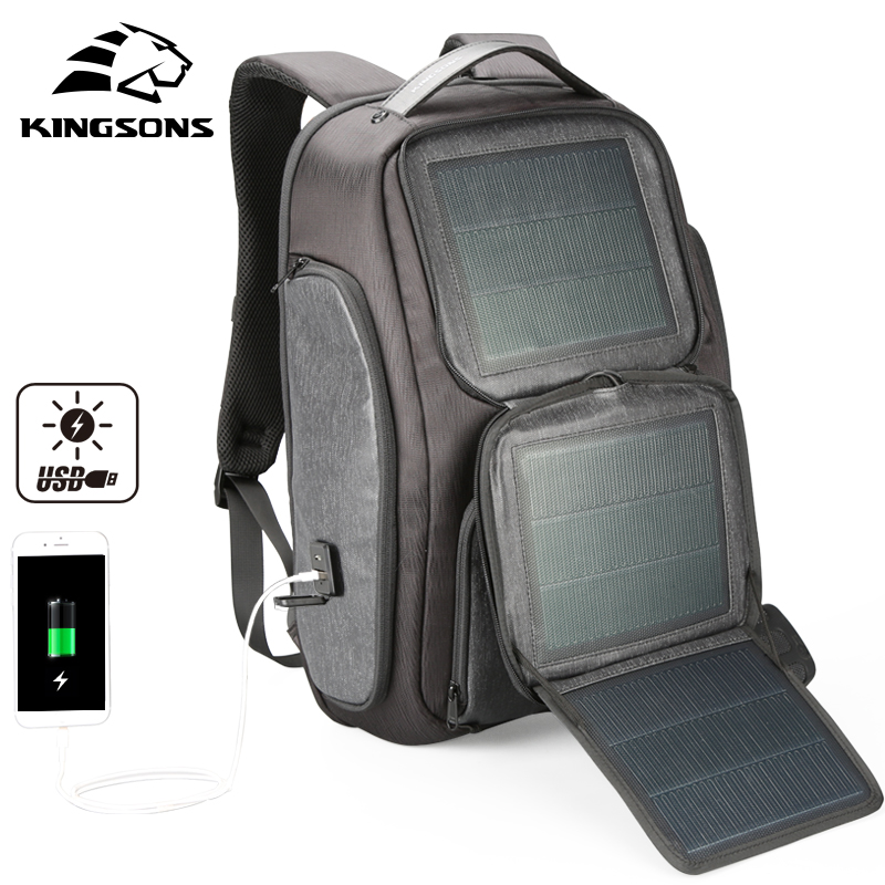 Kingsons New Arrive Solar Fast-charging Backpack For Men USB 15.6 Inch Laptop Bags Knapsack Business Travel Backpacks Mochila летняя шина toyo proxes t1 sport 245 45 r19 102y xl