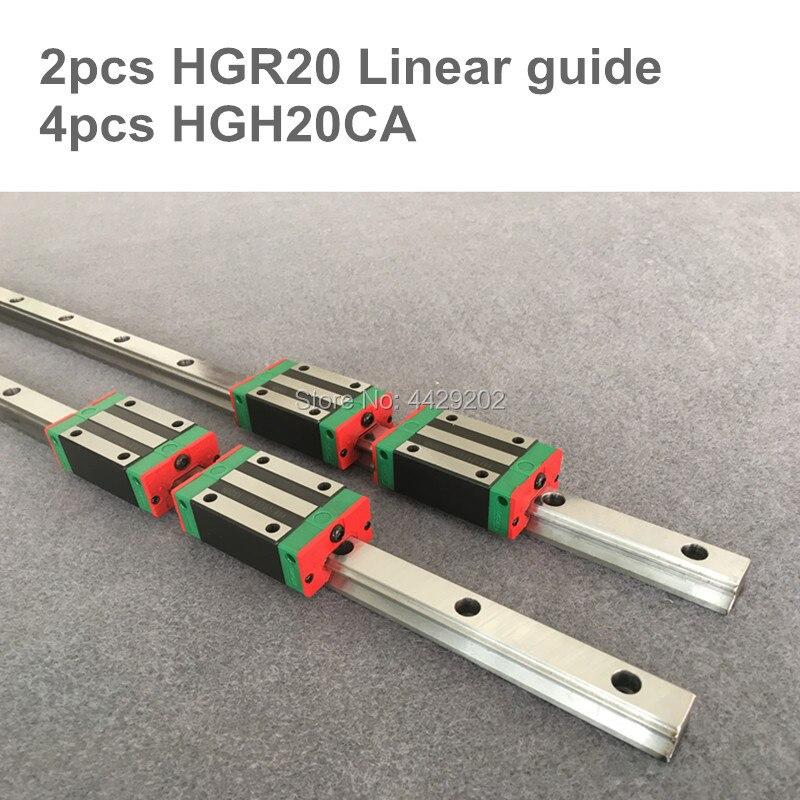 2pcs linear guide rail HGR20 - 200 250 300 350 400 450 500 550 600mm  with 4 pcs of linear block carriage HGH20CA  CNC parts2pcs linear guide rail HGR20 - 200 250 300 350 400 450 500 550 600mm  with 4 pcs of linear block carriage HGH20CA  CNC parts