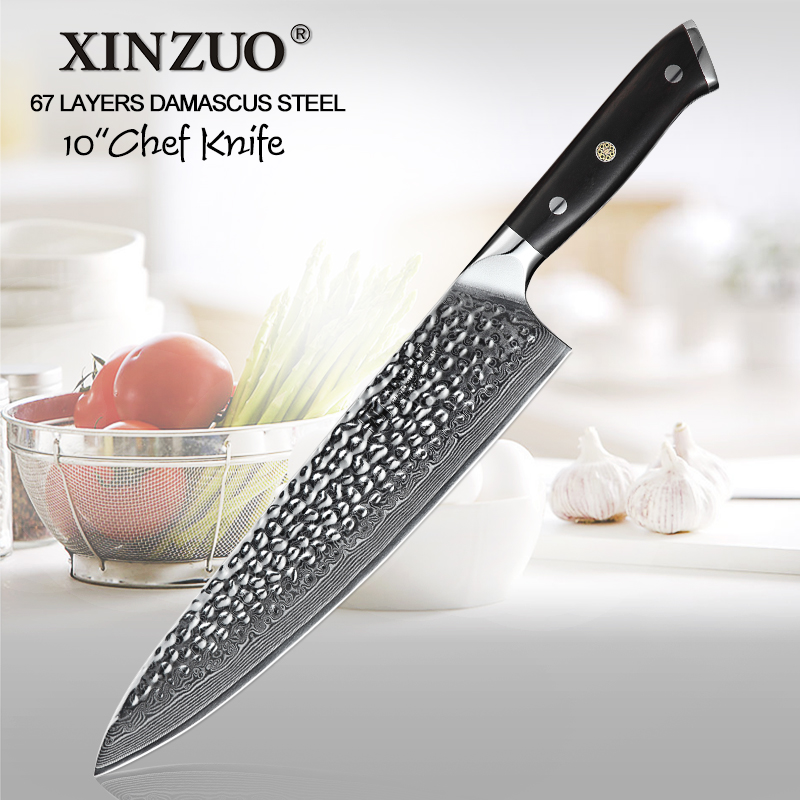 XINZUO 10 inch Professional Chef Knives Japan Damascus Stainless Steel Fish Meat Carving Slicing Knife Vegetable Ebony Handle