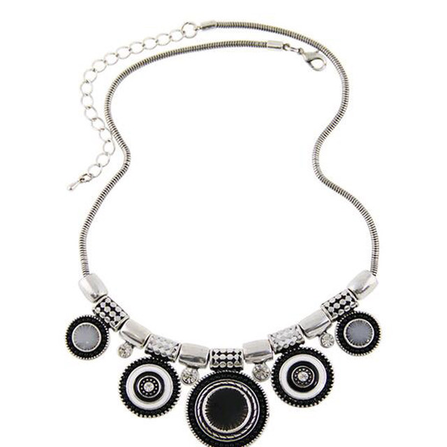 2016 New Fashion Elegant Round Choker Necklace Vintage Silver Plated Colorful Bead Pendant Statement Necklace For Women Jewelry