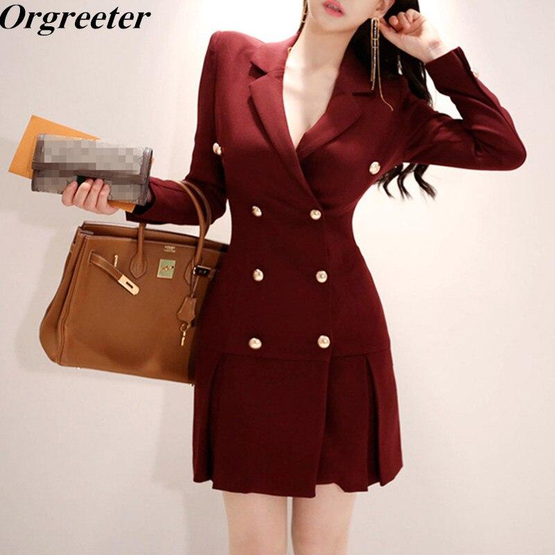 Red Wine Blazer Dress 2018 Winter Women's Black Windbreaker Notched Long Sleeve Button Pleated Elegant Dress Long Suit Jacket