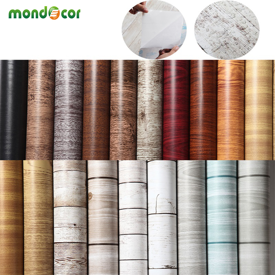 5M Kitchen Wood Grain self adhesive PVC Wallpaper Refurbished Wardrobe Cupboard Door Desktop Furniture Wall Stickers Home Decor