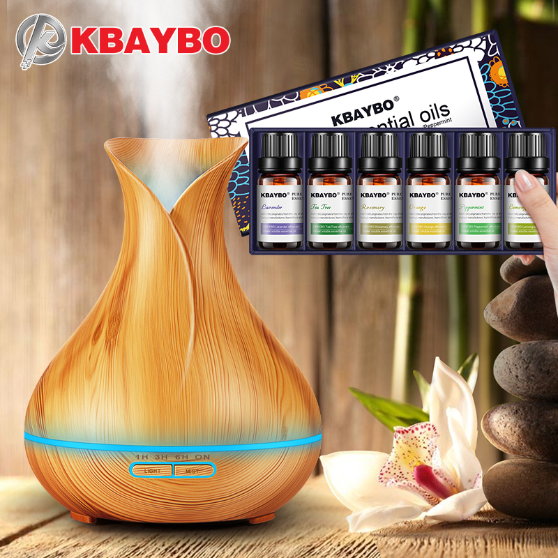 400ml Essential Oil Diffuser Wood Grain Ultrasonic Aroma Cool Mist Humidifier Essential Oil for Diffuser 6 Kinds Fragrance