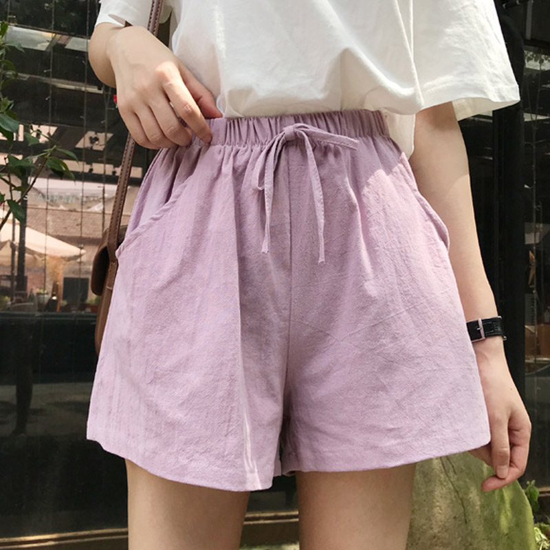 Women High Waist Loose Solid Color   Shorts   Casual for Summer Sport Running Beach BMF88