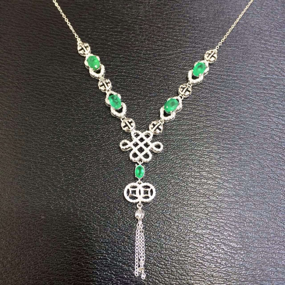 Natural green merald tourmaline Necklace natural gemstone Pendant Necklace S925 silver trendy Chinese knot women party Jewelry